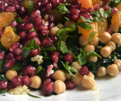 Kale, quinoa, and pomegranate salad
