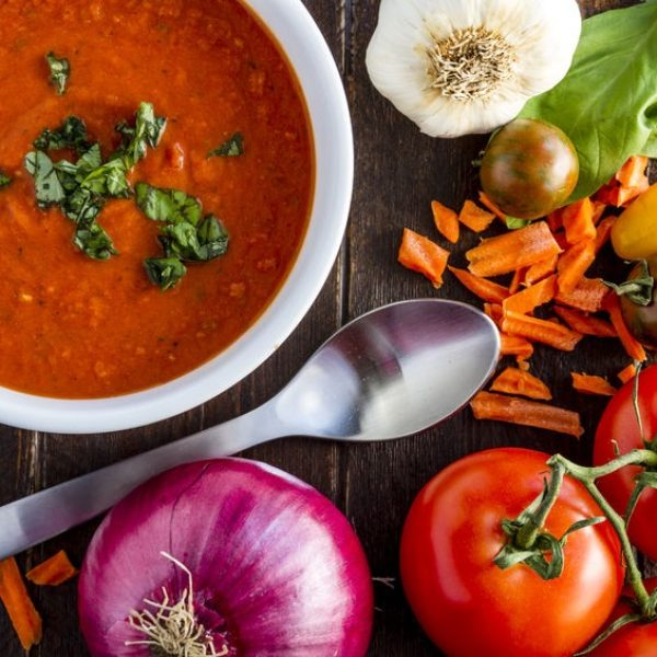 tomato soup with white beans and swiss chard